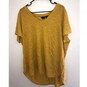 Tahari 100% Linen Yellow Tee Shirt Top 1X XL